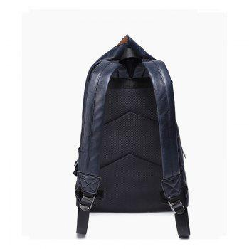 Men's Backpack Large Capacity Laptop Bag Korean Unisex Travel Rucksack Leather Knapsack - BLUE