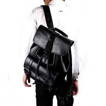 Shoulder Bag Students Backpack Business Leather Rucksack Simple Knapsack Drawstring Bag - BLACK