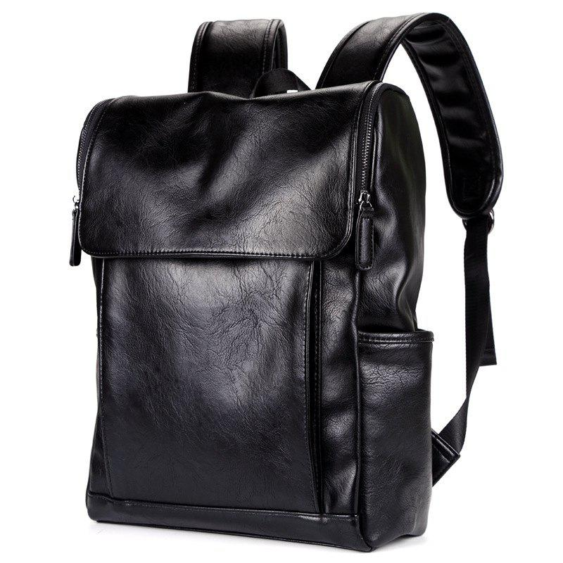 Shoulder Bag PU Leather Men's Backpack Korean Fashion Rucksack - BLACK