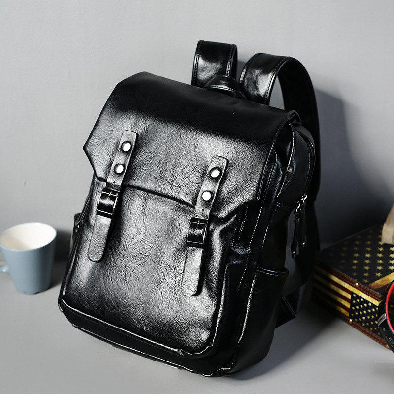 Thick Leather Men's Backpack Korean Fashion Rucksack Outdoor Business Knapsack - BLACK