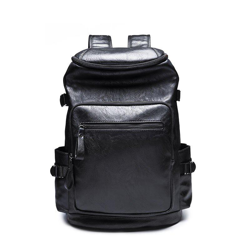 Men's College Shoulder Bag Backpack Leather Rucksack Travel Knapsack - BLACK