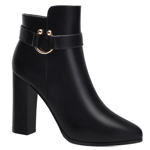 Pointed High Heel Plus Fleece and Short Boots - BLACK 37