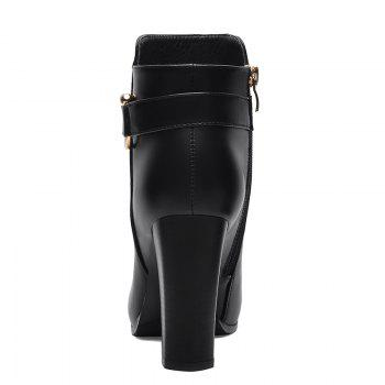 Pointed High Heel Plus Fleece and Short Boots - BLACK 38