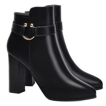 Pointed High Heel Plus Fleece and Short Boots - BLACK 35