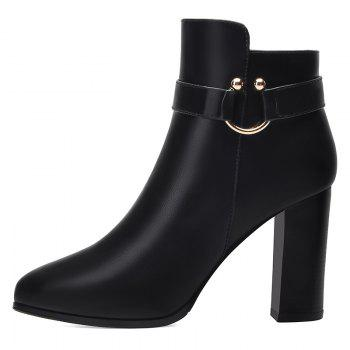 Pointed High Heel Plus Fleece and Short Boots - BLACK BLACK