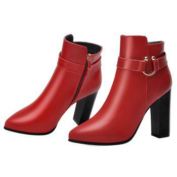 Pointed High Heel Plus Fleece and Short Boots - RED 39