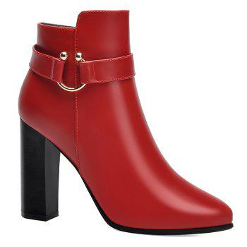 Pointed High Heel Plus Fleece and Short Boots - RED RED