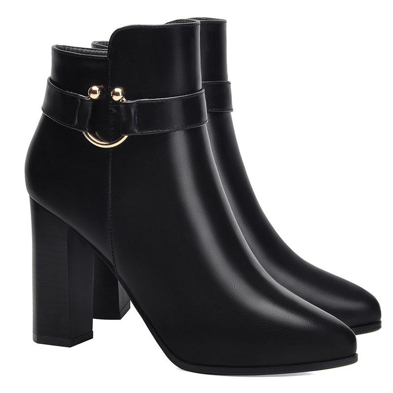 Pointed High Heel Plus Fleece and Short Boots - BLACK 34