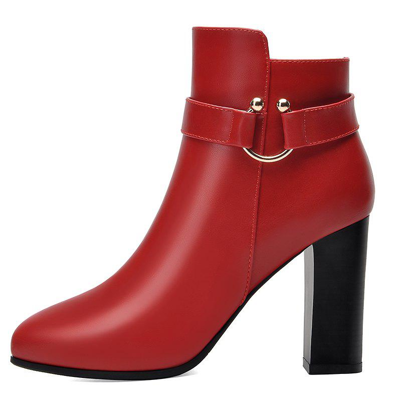 Pointed High Heel Plus Fleece and Short Boots - RED 36