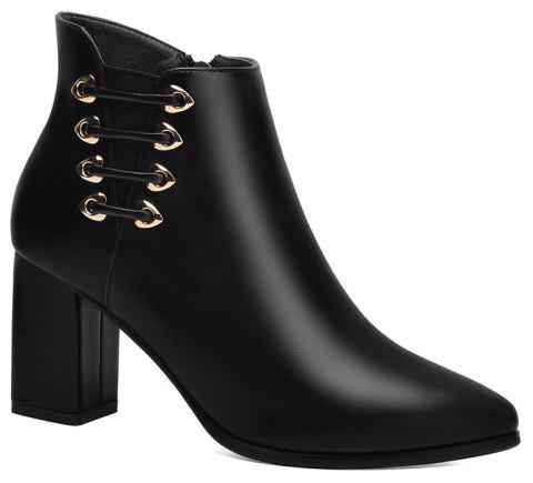 Female Thick with Pointy Head High Heel Chelsea Ankle Boots - BLACK 34