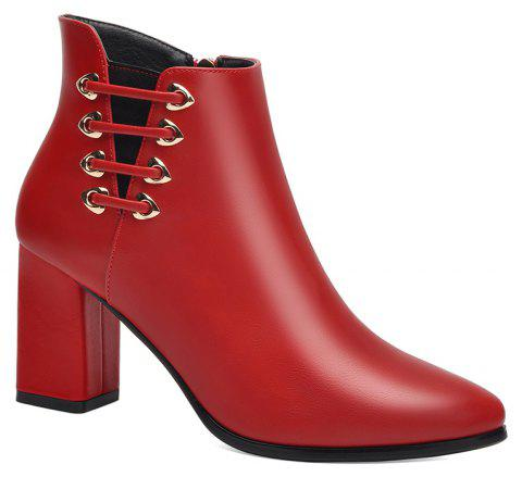 Female Thick with Pointy Head High Heel Chelsea Ankle Boots - RED 34