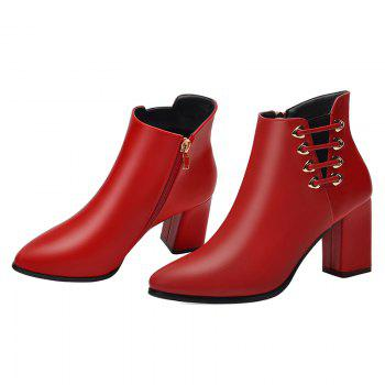 Female Thick with Pointy Head High Heel Chelsea Ankle Boots - RED RED