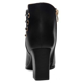 Female Thick with Pointy Head High Heel Chelsea Ankle Boots - BLACK 39