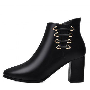 Female Thick with Pointy Head High Heel Chelsea Ankle Boots - BLACK 37
