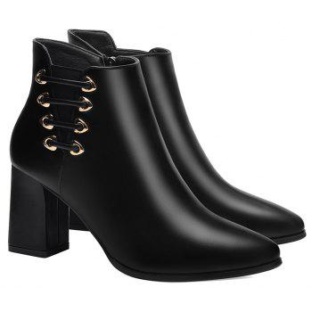 Female Thick with Pointy Head High Heel Chelsea Ankle Boots - BLACK 36