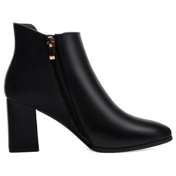 Female Thick with Pointy Head High Heel Chelsea Ankle Boots - BLACK BLACK