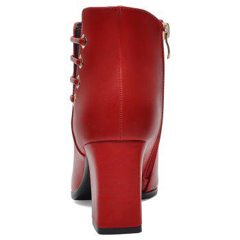 Female Thick with Pointy Head High Heel Chelsea Ankle Boots - RED 35
