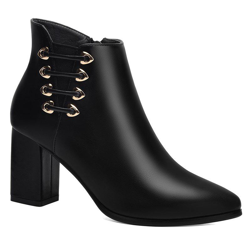 Female Thick with Pointy Head High Heel Chelsea Ankle Boots - BLACK 38