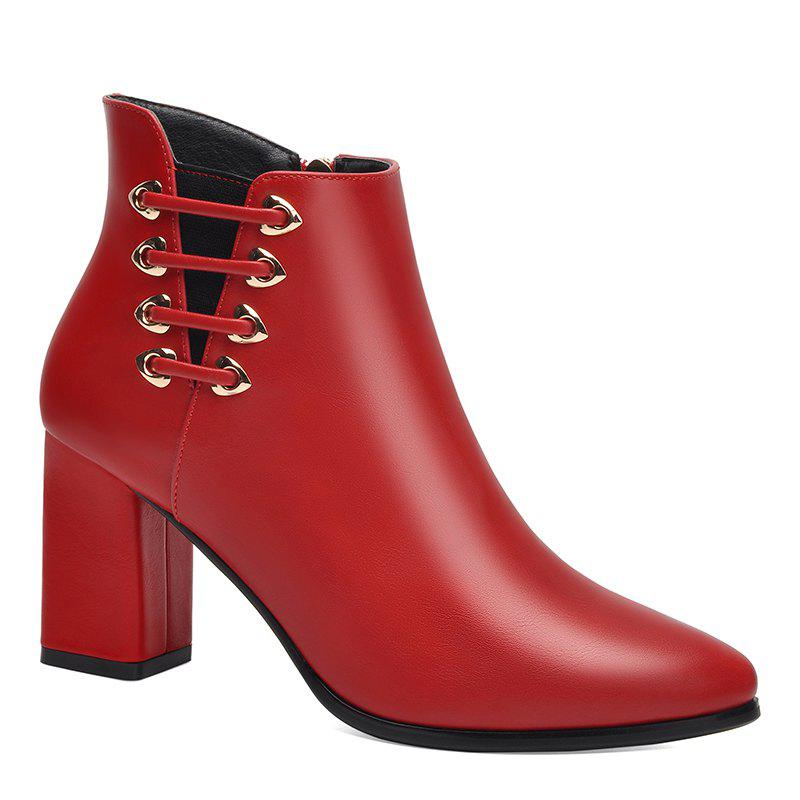 Female Thick with Pointy Head High Heel Chelsea Ankle Boots - RED 38