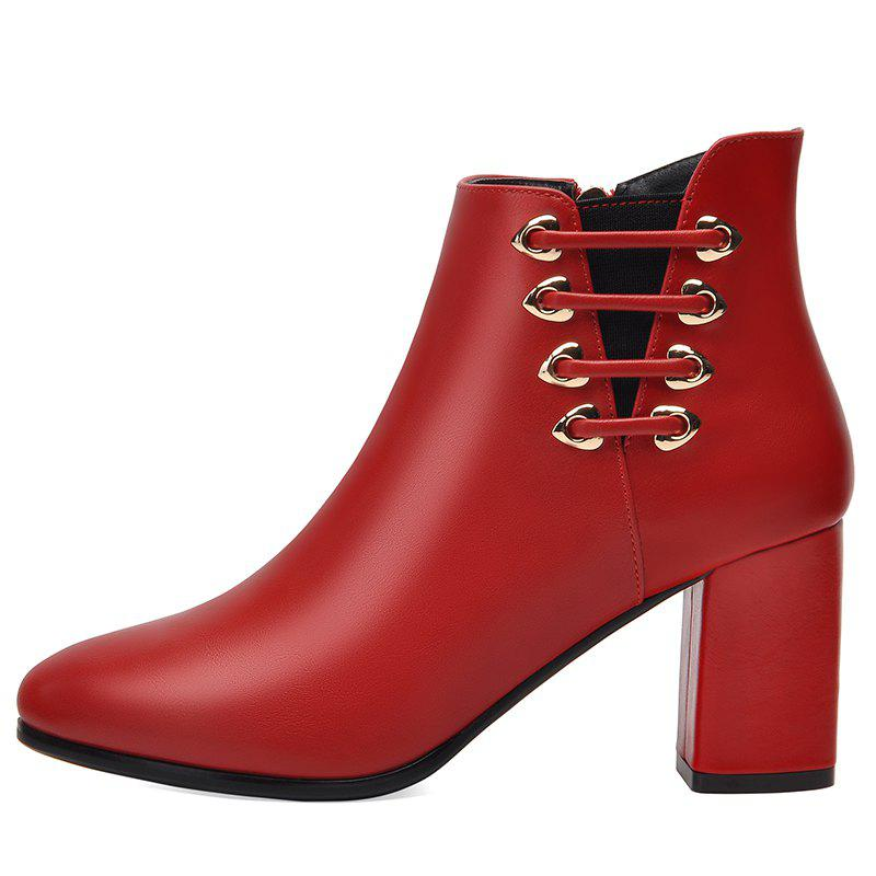 Female Thick with Pointy Head High Heel Chelsea Ankle Boots - RED 37