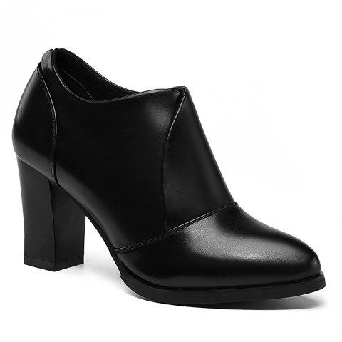 Thick and Deep-Mouth Single Shoe OL High Heels - BLACK 35