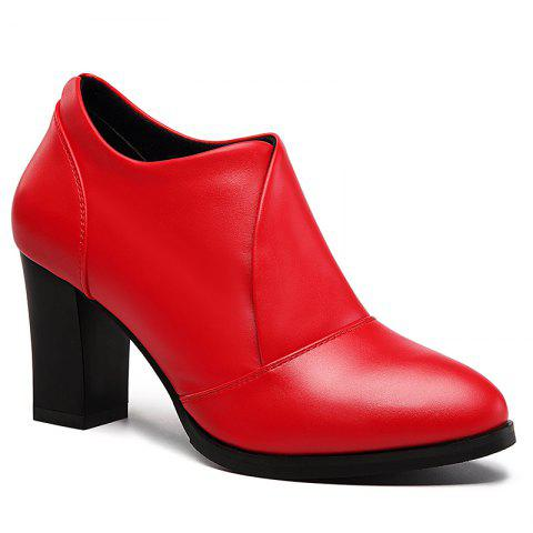 Thick and Deep-Mouth Single Shoe OL High Heels - RED 37
