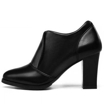 Thick and Deep-Mouth Single Shoe OL High Heels - BLACK 37