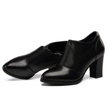 Thick and Deep-Mouth Single Shoe OL High Heels - BLACK 36