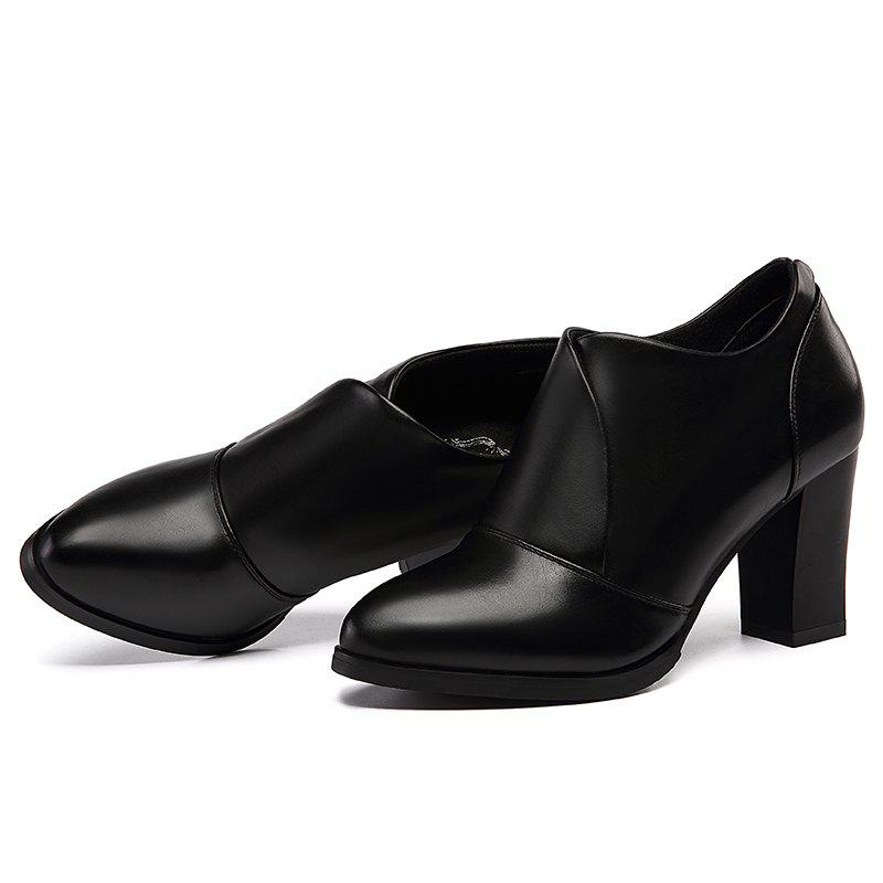 Thick and Deep-Mouth Single Shoe OL High Heels - BLACK 38