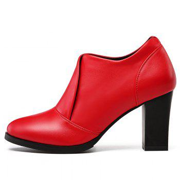 High Heel and Low Point Pumps Shoes - RED 35