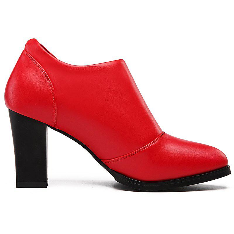High Heel and Low Point Pumps Shoes - RED 36