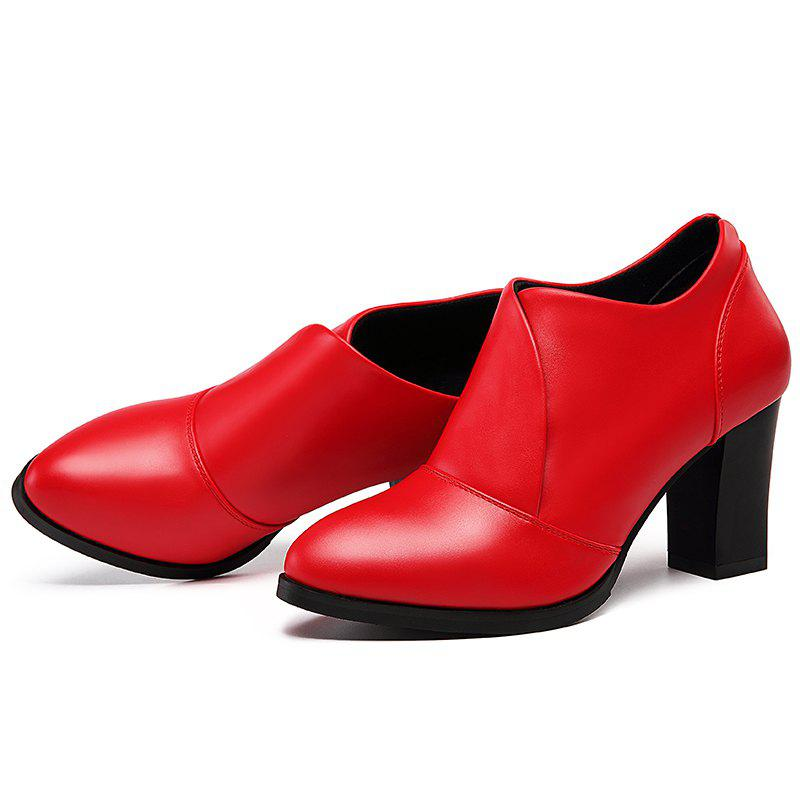 High Heel and Low Point Pumps Shoes - RED 37