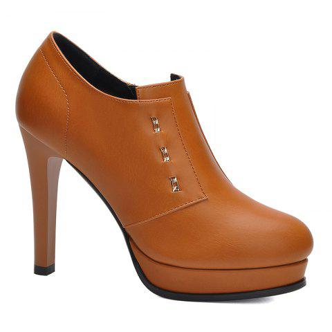 Women Fine and Waterproof Platform Pumps - BROWN 36