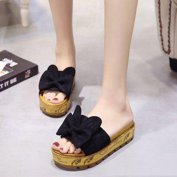 Cool Slippers with Thick Bottom Fashion Flowers - BLACK 39
