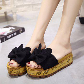 Cool Slippers with Thick Bottom Fashion Flowers - BLACK 37
