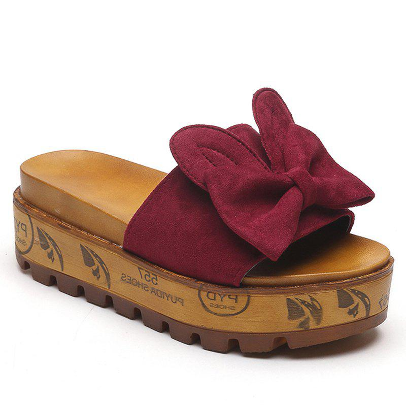 Cool Slippers with Thick Bottom Fashion Flowers - ROSE RED 39