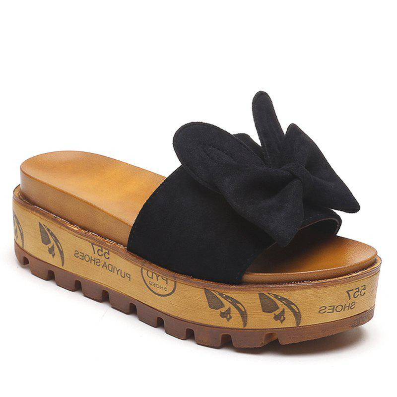 Cool Slippers with Thick Bottom Fashion Flowers - BLACK 38