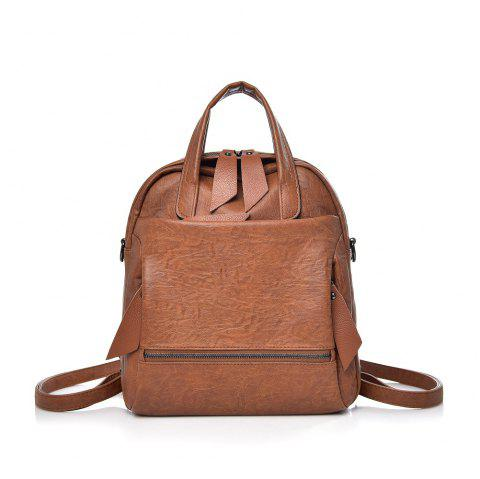 Large Amount  Soft Skin Backpack - BROWN