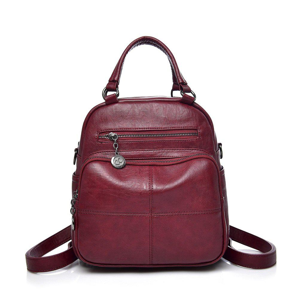 Dual Backpack Multi-functional Backpack - WINE RED