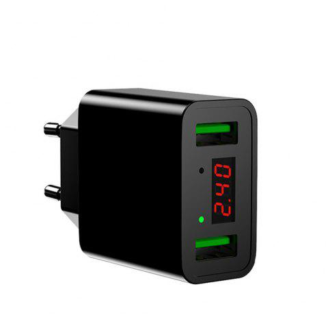 LED Display Dual USB Phone Charger EU Plug the Max 2.2A Smart Fast Charging Mobile Wall Charger for iPhone iPad Samsung - BLACK