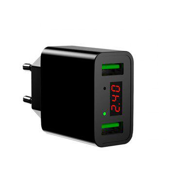 LED Display Dual USB Phone Charger EU Plug the Max 2.2A Smart Fast Charging Mobile Wall Charger for iPhone iPad Samsung - BLACK BLACK