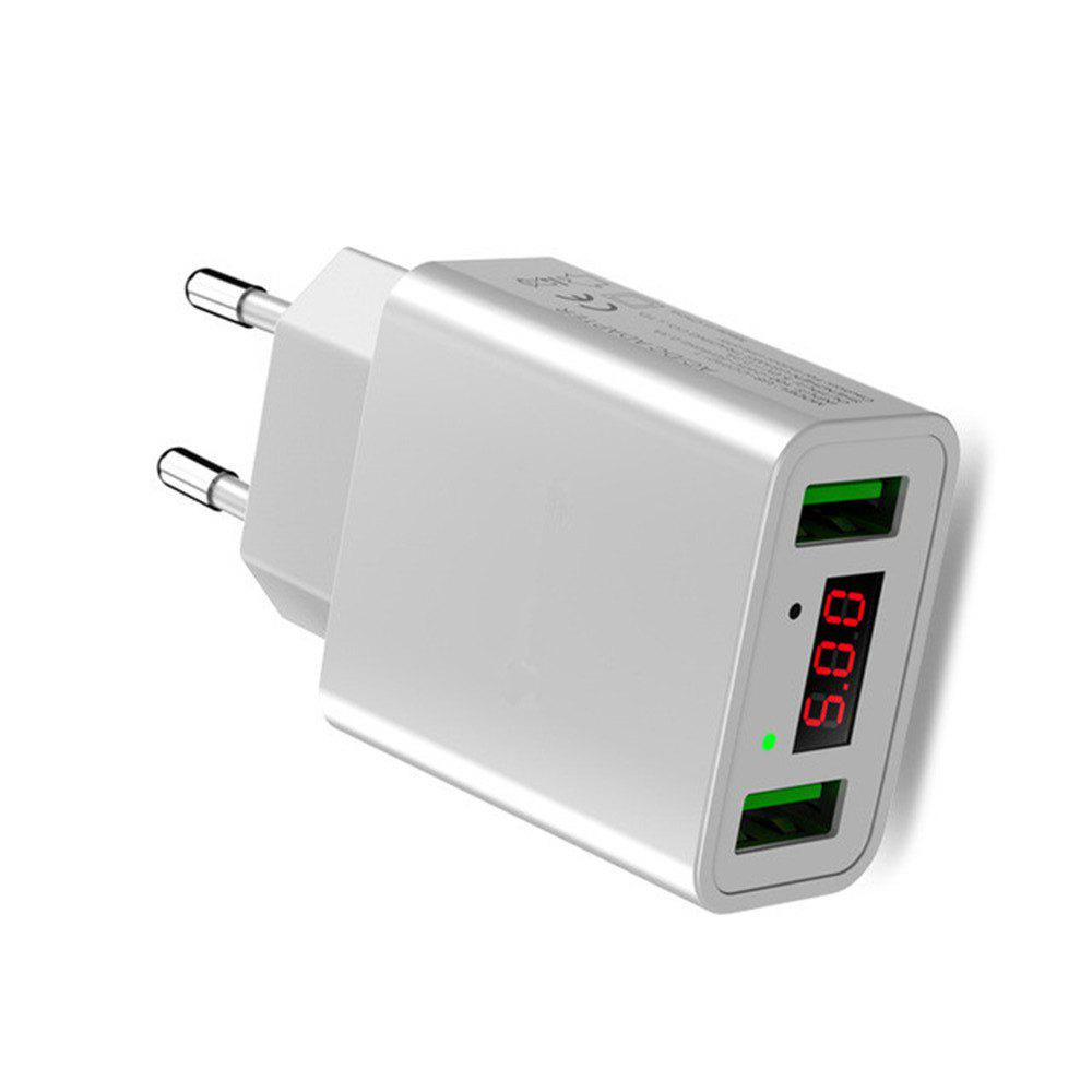LED Display Dual USB Phone Charger EU Plug the Max 2.2A Smart Fast Charging Mobile Wall Charger for iPhone iPad Samsung - WHITE
