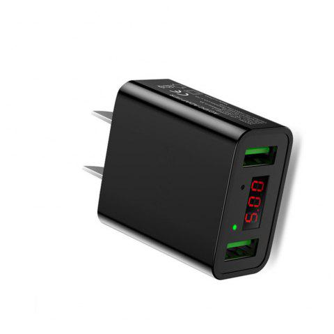 LED Display Dual USB Phone Charger US Plug The Max 2.2A Smart Fast Charging Mobile Wall Charger for iPhone iPad Samsung - BLACK