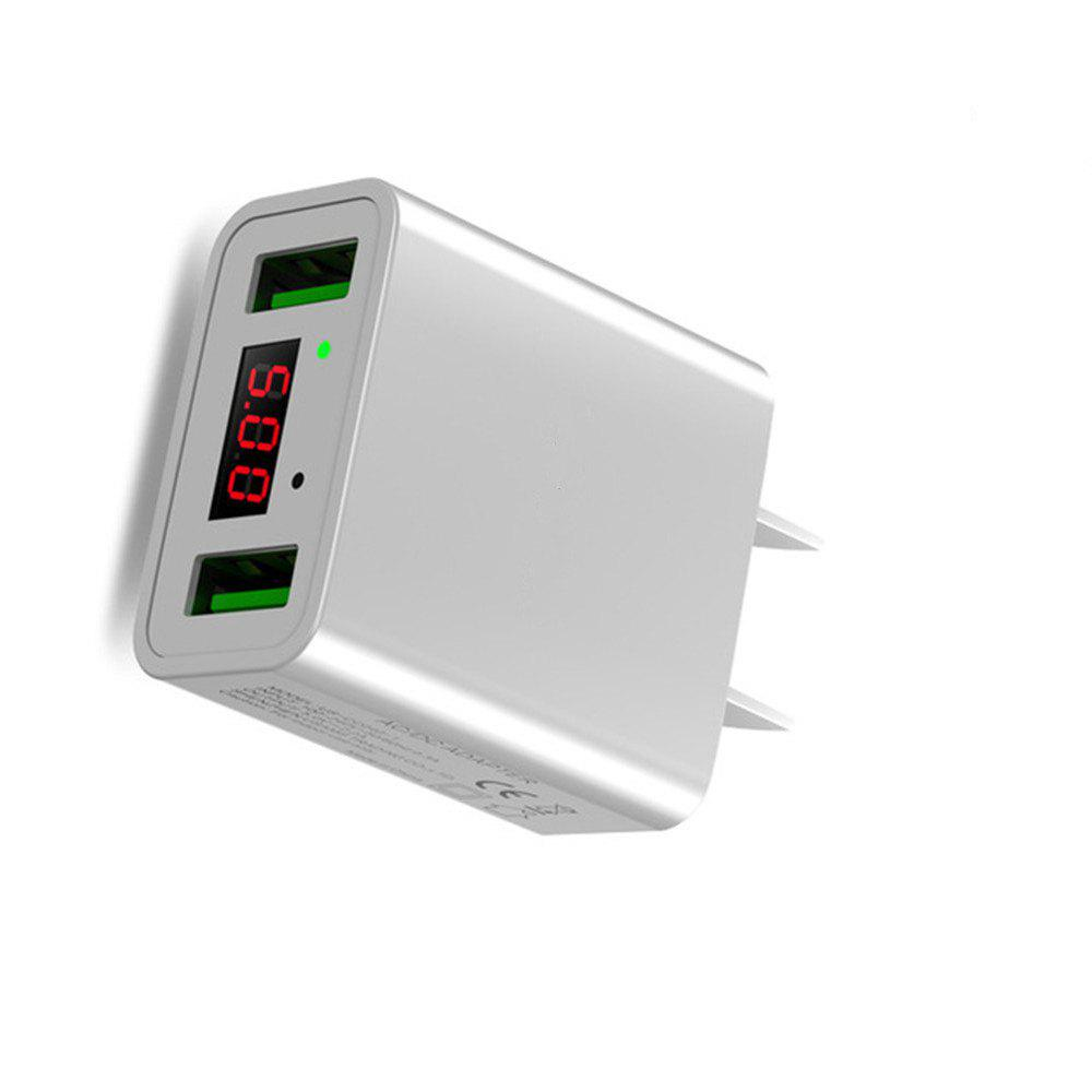 LED Display Dual USB Phone Charger US Plug The Max 2.2A Smart Fast Charging Mobile Wall Charger for iPhone iPad Samsung - WHITE