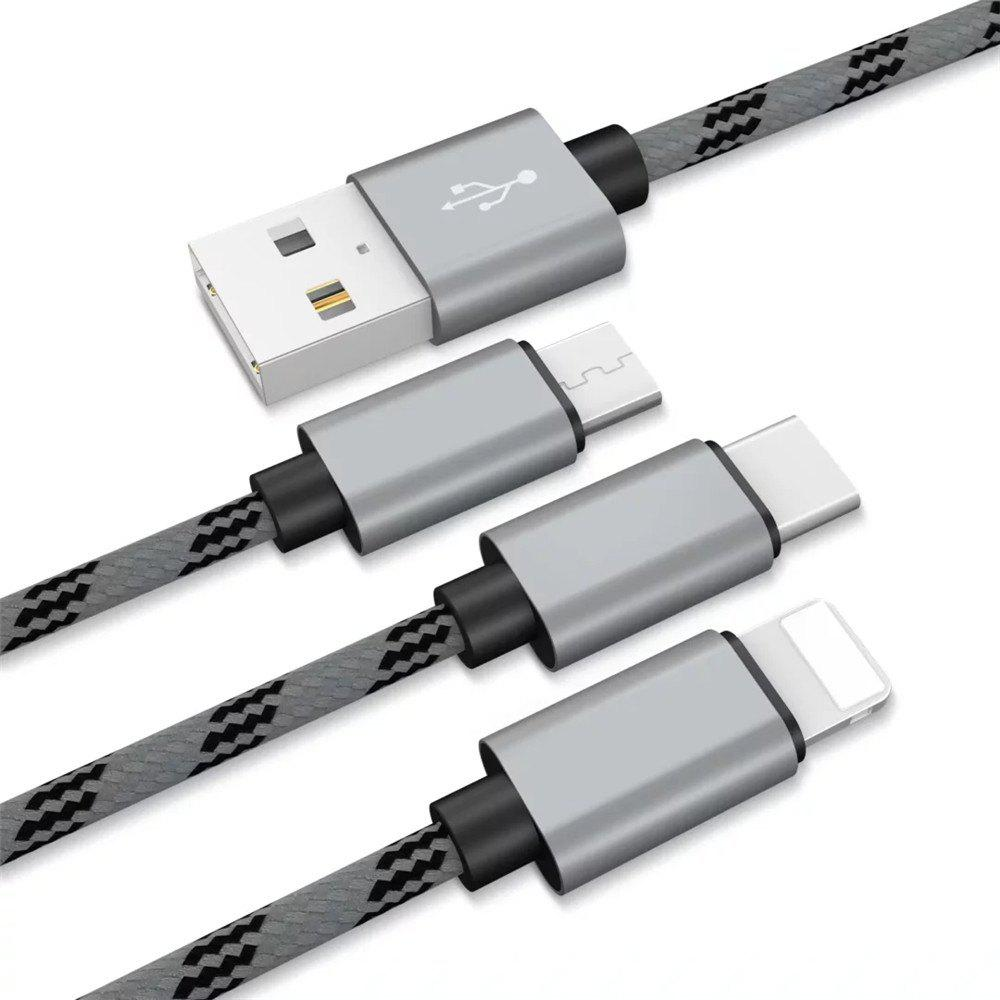 1.2m 3 in 1 Micro USB Type-C 8 Pin Data Charging Cable - GRAY