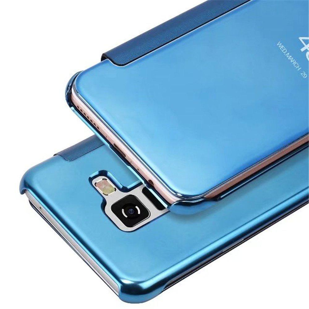 Case Cover For Samsung Galaxy A5(2018) Luxury Clear View Mirror Flip Smart - AZURE