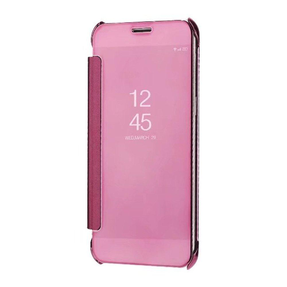 Case Cover For Samsung Galaxy A5(2018) Luxury Clear View Mirror Flip Smart - ROSE GOLD