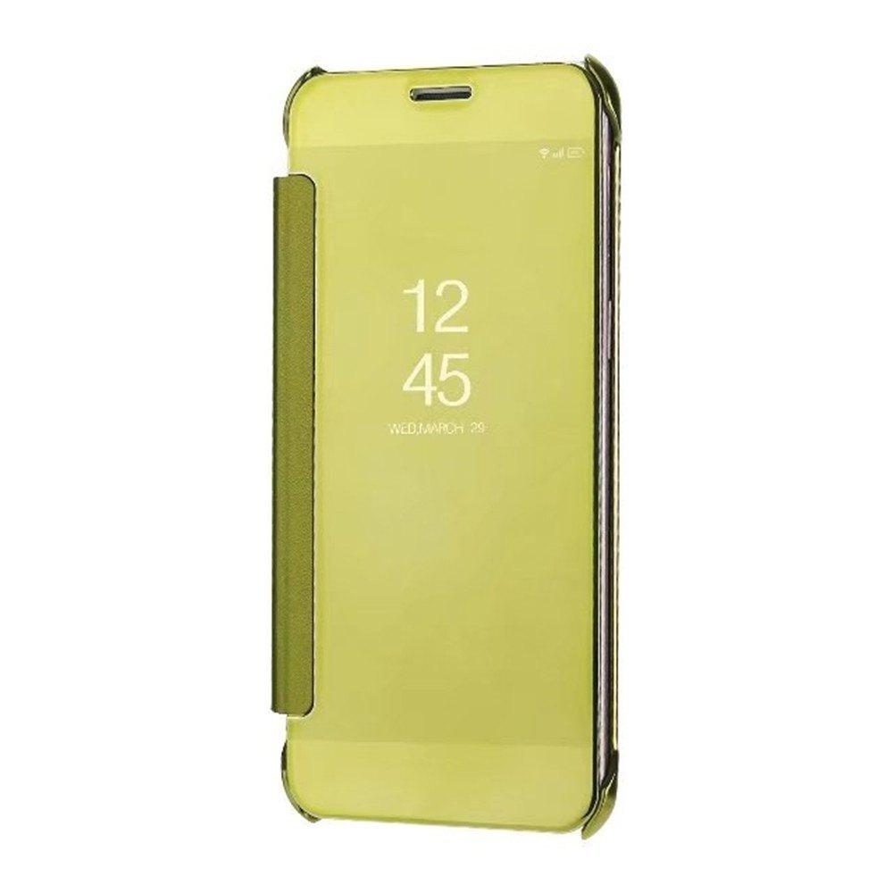 Case Cover for Samsung Galaxy A7(2018) Luxury Clear View Mirror Flip Smart - GOLDEN