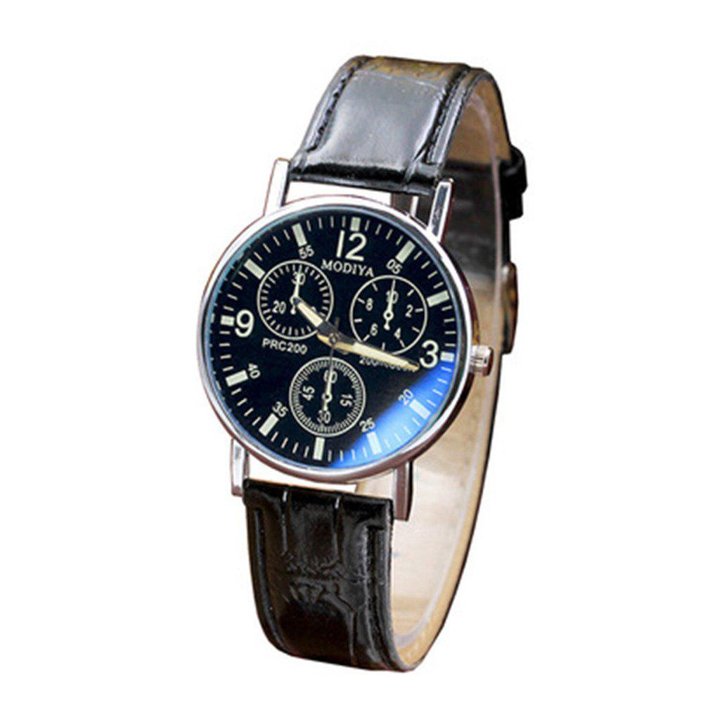 Men Luxury Leather Analog Quartz Business Wrist Watch - BLACK
