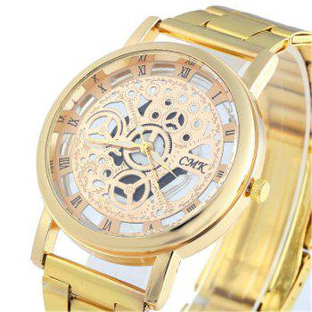 Skeleton Roman Numerals Hollow Dial Stainless Steel Band Mechanical Watch - GOLDEN